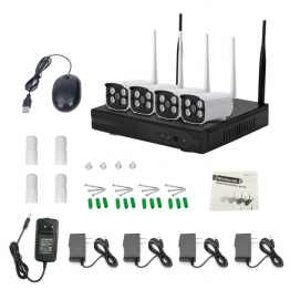 Безжична IP система комплект с 4 камери 1 MP